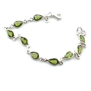 Sundari Teardrop shaped Faceted Peridot Gemstone Classic Sterling Silver Bracelet