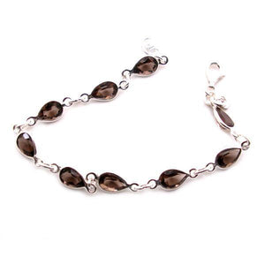 Sundari Teardrop shaped Faceted Smoky Quartz Gemstone Classic Sterling Silver Bracelet