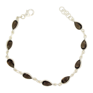 Teardrop shaped Faceted Smoky Quartz Gemstone Classic Sterling Silver Bracelet