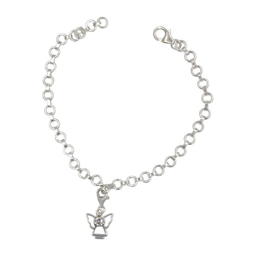handcrafted Guardian Angel Sterling Silver Bracelet
