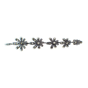 Sterling Silver and Marcasite Petals Brooch