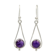 Load image into Gallery viewer, Simple Sterling Silver Teardrop drop Earring with a cabochon gemstone or Fresh Water Pearl
