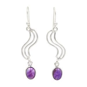 Handcrafted swirl drop earring with oval shaped gemstone