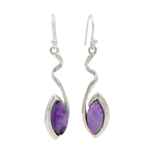 Load image into Gallery viewer, Swirl Twist Long Drop Earring with a beautiful lens shaped natural crystal stone