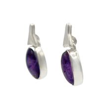 Load image into Gallery viewer, Drop Earrings amethyst with a Silver Stud Fitting