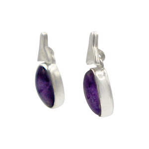 Drop Earrings amethyst with a Silver Stud Fitting