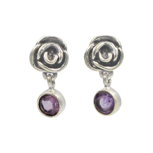 Load image into Gallery viewer, Beautifully Handcrafted Intricate Rose Stud Earring with a faceted gemstone