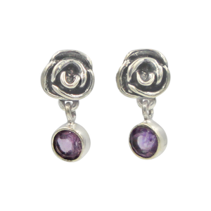Beautifully Handcrafted Intricate Rose Stud Earring with a faceted gemstone