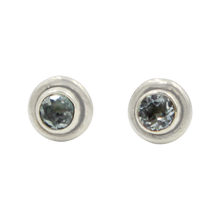 Load image into Gallery viewer, Silver Stud Earrings with half sphere cabochon Blue Topaz with silver surround