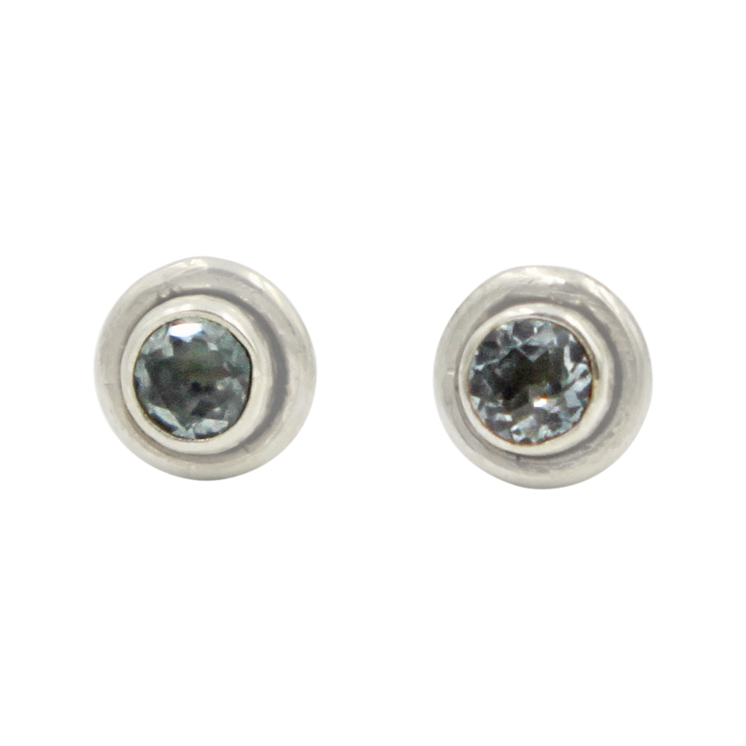 Silver Stud Earrings with half sphere cabochon Blue Topaz with silver surround