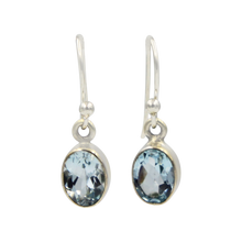 Load image into Gallery viewer, Sundari oval shaped faceted gem-set dangle earrings