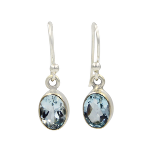 Sundari oval shaped faceted gem-set dangle earrings
