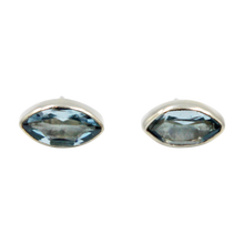 Load image into Gallery viewer, Pointed Oval Silver Stud Earring with a faceted Blue Topaz gemstone on a deep bezel setting