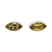 Load image into Gallery viewer, Pointed Oval Silver Stud Earring with a faceted Citrine gemstone on a deep bezel setting