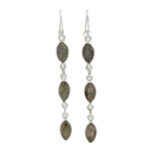 Load image into Gallery viewer, Handcrafted sequential drop earring with falling 6 gemstones