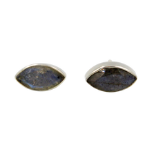 Load image into Gallery viewer, Pointed Oval Silver Stud Earring with a faceted Dark Labradorite gemstone on a deep bezel setting