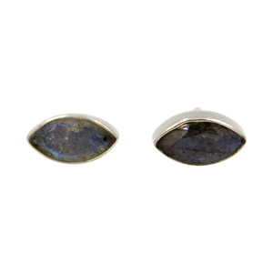 Pointed Oval Silver Stud Earring with a faceted Dark Labradorite gemstone on a deep bezel setting