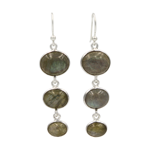 Handcrafted sequential drop earring with falling oval shaped gemstones