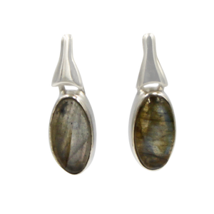Drop Earrings Dark Labradorite with a Silver Stud Fitting