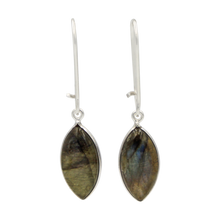 Load image into Gallery viewer, Handcrafted sterling silver large lens shaped earring with a handpicked beautiful cabochon Dark Labradorite gemstone.