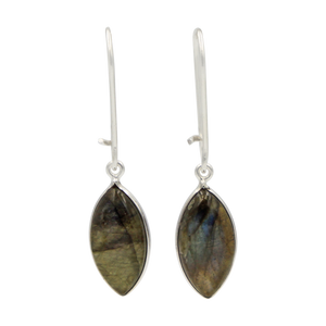 Handcrafted sterling silver large lens shaped earring with a handpicked beautiful cabochon Dark Labradorite gemstone.
