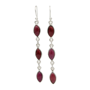 Handcrafted sequential drop earring with falling 6 gemstones