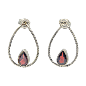 Simple but elegantly handcrafted sterling silver twisted wire earring accent with a colourful natural gemstone