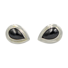 Load image into Gallery viewer, Sterling Silver Teardrop Gem-set Stud Earrings with Silver Surround for Your Daily Wear