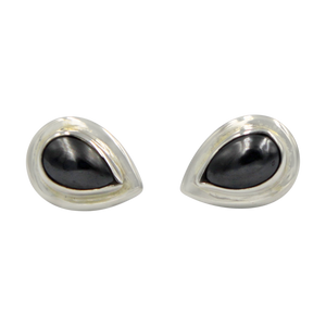 Sterling Silver Teardrop Gem-set Stud Earrings with Silver Surround for Your Daily Wear