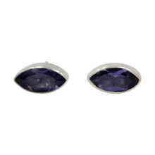Load image into Gallery viewer, Pointed Oval Silver Stud Earring with a faceted Iolite gemstone on a deep bezel setting