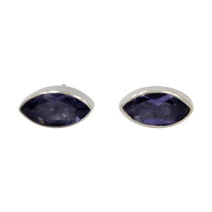 Pointed Oval Silver Stud Earring with a faceted Iolite gemstone on a deep bezel setting