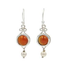 Load image into Gallery viewer, A lovely unique and a very intricate design of Sundari ethnic pair of earrings with round cabochon stone.
