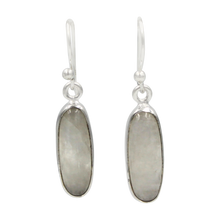Load image into Gallery viewer, Handcrafted  drop earring with long oval shaped gemstone