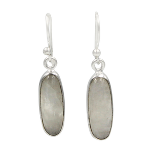 Handcrafted  drop earring with long oval shaped gemstone