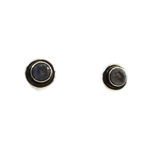 Copy of Silver Stud Earrings with half sphere sparkling faceted gemstone with silver surround