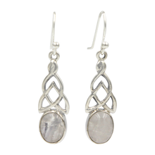 Load image into Gallery viewer, Aesthetic Celtic earrings in Rainbow Moonstone