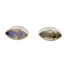 Load image into Gallery viewer, Pointed Oval Silver Stud Earring with a faceted Rainbow Moonstone gemstone on a deep bezel setting