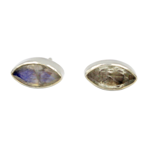 Pointed Oval Silver Stud Earring with a faceted Rainbow Moonstone gemstone on a deep bezel setting