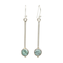 Load image into Gallery viewer, Inverted lolly sterling silver earrings with a round cabochon gemstone