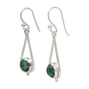 Simple Sterling Silver Teardrop drop Earring with a cabochon gemstone or Fresh Water Pearl