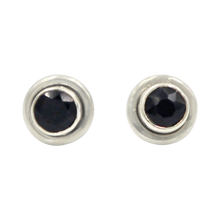 Load image into Gallery viewer, Silver Stud Earrings with half sphere cabochon Black Onyx with silver surround