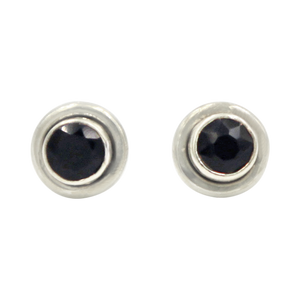 Silver Stud Earrings with half sphere cabochon Black Onyx with silver surround