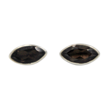 Load image into Gallery viewer, Pointed Oval Silver Stud Earring with a faceted Smokey Quartz gemstone on a deep bezel setting