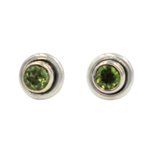 Load image into Gallery viewer, Silver Stud Earrings with half sphere faceted Peridot with silver surround