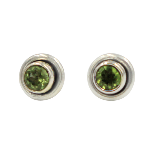 Silver Stud Earrings with half sphere faceted Peridot with silver surround