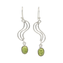 Load image into Gallery viewer, Handcrafted swirl drop earring with oval shaped gemstone