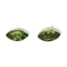 Load image into Gallery viewer, Pointed Oval Silver Stud Earring with a faceted Peridot gemstone on a deep bezel setting