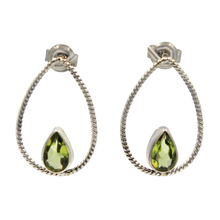 Load image into Gallery viewer, Simple but elegantly handcrafted sterling silver twisted wire earring accent with a colourful natural gemstone