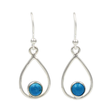 Load image into Gallery viewer, Teardrop wire Earring with small round cabochon Gemstone
