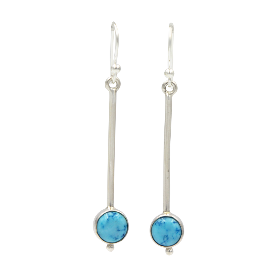 Inverted lolly sterling silver earrings with a round cabochon gemstone